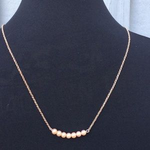 Glass Pearl and Rose Gold Necklace